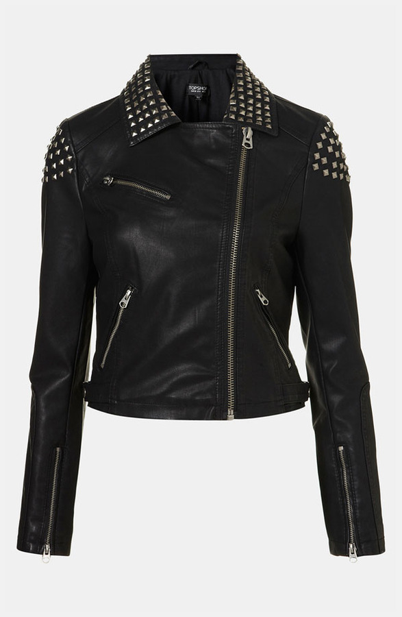Topshop Studded Faux Leather Biker Jacket