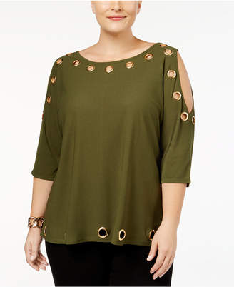 Belldini Plus Size Cold-Shoulder Grommet Top