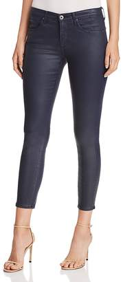 AG Jeans Coated Ankle Legging Jeans in Vintage Leatherette Navy