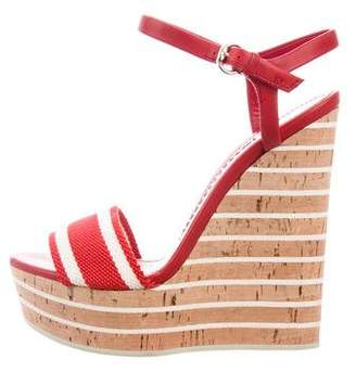 f0762ed53654f Pre-Owned at TheRealReal · Gucci Web Leather-Trimmed Wedges