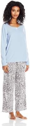 Hue Women's Crystal Leopard Fleece 3 Piece Pajama Set Banded