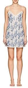 Barneys New York Women's Lace-Trimmed Floral Cotton Chemise-Rr Blue White Floral