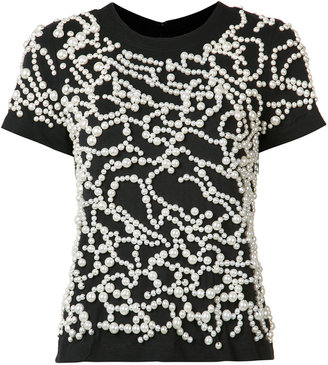 Vera Wang pearl embroidered T-shirt $1,595 thestylecure.com