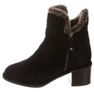 Chanel Shearling-Lined Quilted Ankle Boots