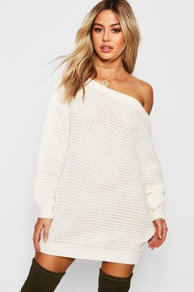boohoo Petite Waffle Knit Off The Shoulder Sweater Dress