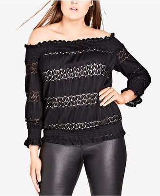 City Chic Trendy Plus Size Dainty Smocked Lace Off-The-Shoulder Top