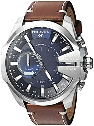 Diesel Men's Stainless Steel Hybrid Watch with Leather Band Strap