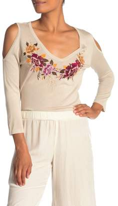 Johnny Was Cold Shoulder Floral Embroidered Silk Blend Sweater