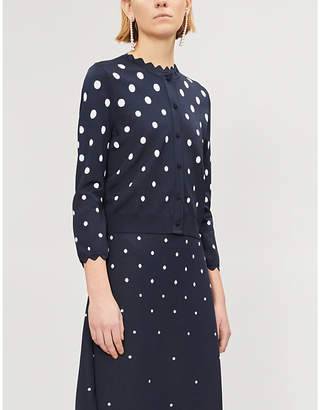 2896f7baa5 Oscar de la Renta Polka dot-pattern cropped knitted cardigan
