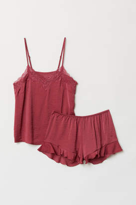H&M Pajama Top and Shorts - Red