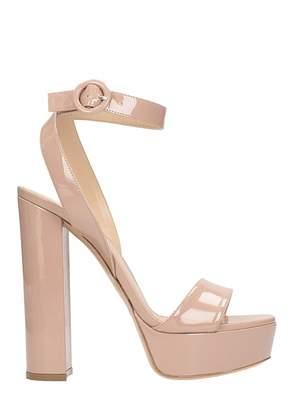 Lerre Plateau Nude Patent Leather Sandals