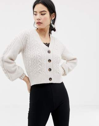 Miss Selfridge cropped cardigan in cream