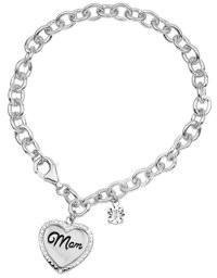 Forever New Sterling Silver Diamond MOM Heart Charm Bracelet 7.25 Inch