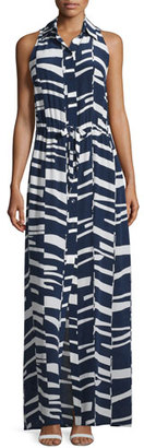 Trina Turk Modern-Print Sleeveless Silk Maxi Shirtdress $368 thestylecure.com