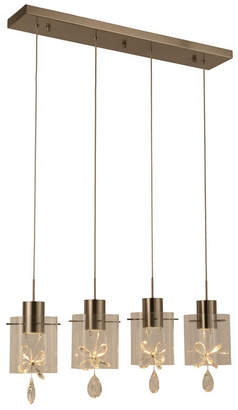 Worldwide Lighting Papillion 24-Watt Matte Nickel Finish Integrated Led Glass with Crystal Kitchen Island Linear Pendant Ceiling Light
