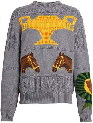 Burberry Equestrian Intarsia Cotton Wool Sweater