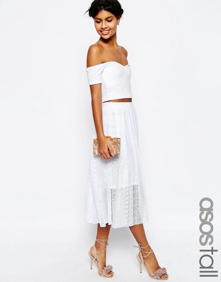 ASOS TALL Pleated Lace Midi Skirt