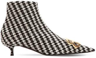 Balenciaga 40mm Bb Houndstooth Ankle Boots