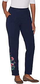 Denim & Co. French Terry Floral EmbroideredAnkle Pants