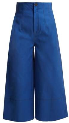 Sea Kamille High Rise Cropped Wide Leg Trousers - Womens - Blue