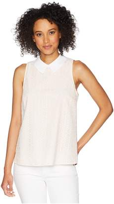 CeCe Sleeveless Ditsy Cotton Eyelet Collared Blouse Women's Sleeveless