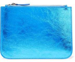 Iris & Ink Blake Metallic Cracked-Leather Pouch