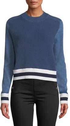 Rag & Bone Dean Stripe Mock-Neck Cotton/Wool Sweater