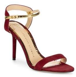 5c262e90498676 Charlotte Olympia Metallic-Trimmed Leather Ankle Strap Sandals ...