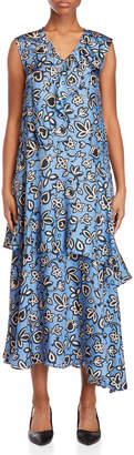 Alysi Printed Asymmetrical Ruffled Maxi Dress