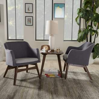 Baxton Studio Mid-Century Modern Arm Chair & End Table 3-piece Set