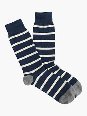 J.Crew Naval Stripe Socks, One Size, Navy/White