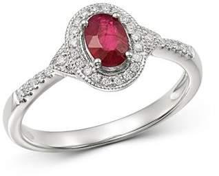 Bloomingdale's Ruby & Diamond Milgrain Ring in 14K White Gold - 100% Exclusive