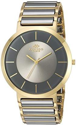 Oniss Paris Men's 'Slim Collection' Swiss Quartz Stainless Steel and Tungsten Dress Watch