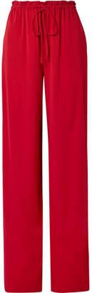 The Row Jr Stretch-silk Georgette Wide-leg Pants - Claret