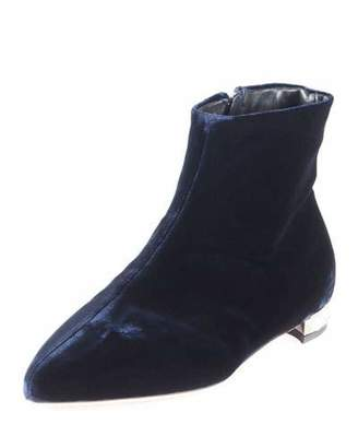 Miu Miu Velvet Pearly-Heel Booties, Blue