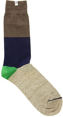 Melange Home 40 Colori Brown Striped Linen & Organic Cotton Socks