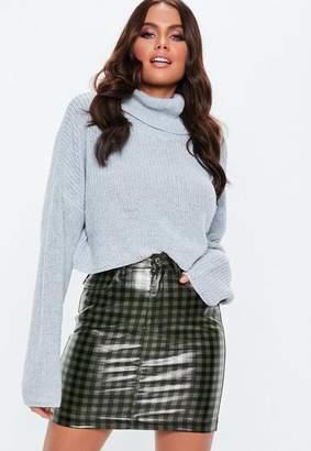 Missguided Green Gingham Coated Denim Mini Skirt