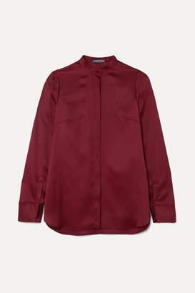 Alexander McQueen Cutout Silk-satin Blouse - Crimson