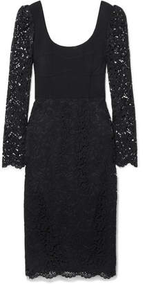 Rebecca Vallance Le Saint Lace And Crepe Midi Dress - Black