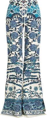 Roberto Cavalli Printed Flared Pants with Cotton