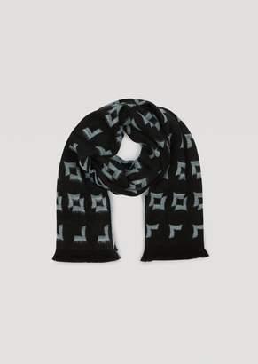 Emporio Armani Pure Wool Scarf With Geometric Pattern Jacquard