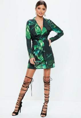 Missguided Green Wrap Front Palm Print Dress