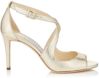 Jimmy Choo EMILY 85 Gold Metallic Printed Leather Sandals