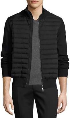 Moncler Moncler Zip-Front Puffer Cardigan, Black $795 thestylecure.com