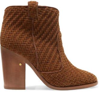 Laurence Dacade - Nico Herringbone Velvet Ankle Boots - Tan $840 thestylecure.com