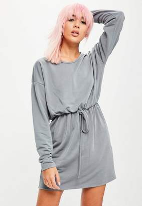 Missguided Gray Long Sleeve Tie Waist Sweater Dress