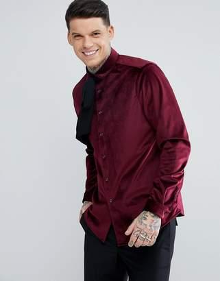 Asos Regular Fit Velvet Shirt With Pussy Bow