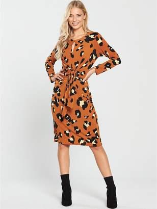 Wallis Animal Tie Front Midi Dress - Toffee
