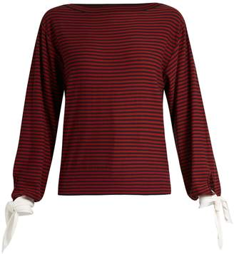 Chloé Tie-cuff striped cotton top