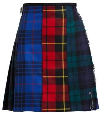 Le Kilt - Patchwork Mini Tartan Wool Kilt - Womens - Blue Multi